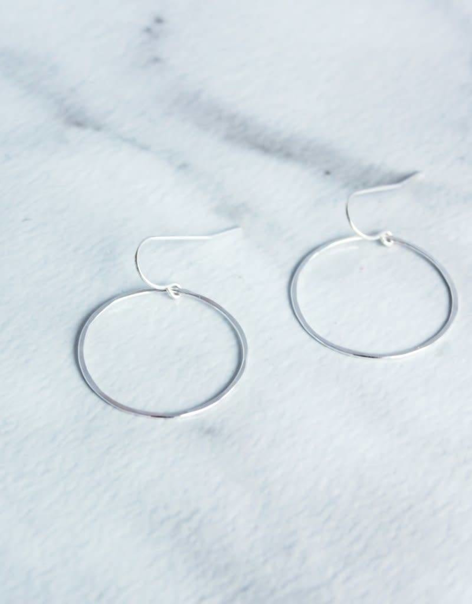 "M.Liz Hammered Hoops, 1"" SILVER"