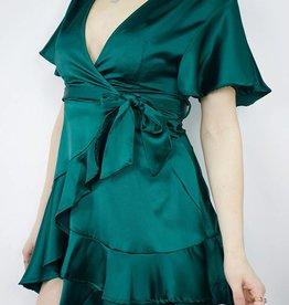 SELFIE LESLIE Ruffle Wrap Dress, JADE