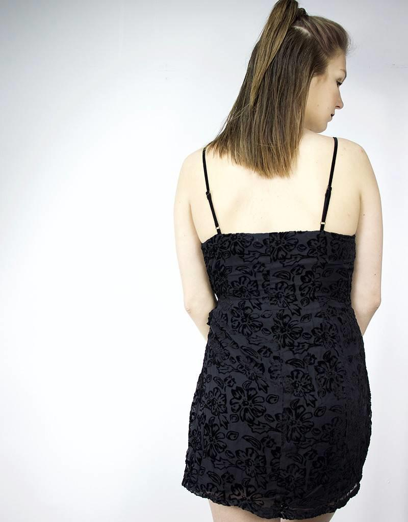 LUSH Velvet Floral Print Dress, BLACK