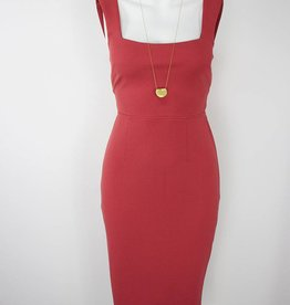 Square Neck, Sheath Dress, ROSE