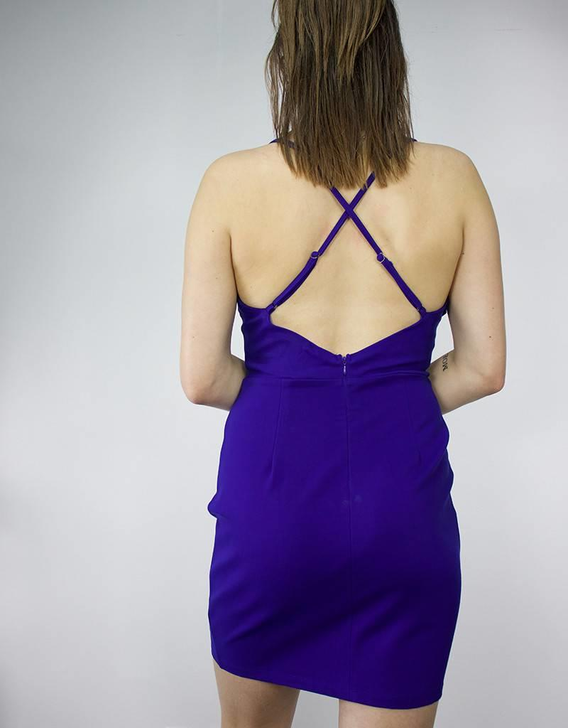 LUSH V Neck Ruffle Bodycon Dress, ROYAL