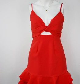 Twist Top Ruffle Dress, RED