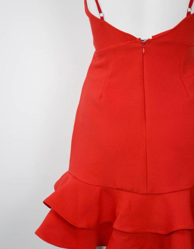 LeBLANC finds Twist Top Ruffle Dress, RED
