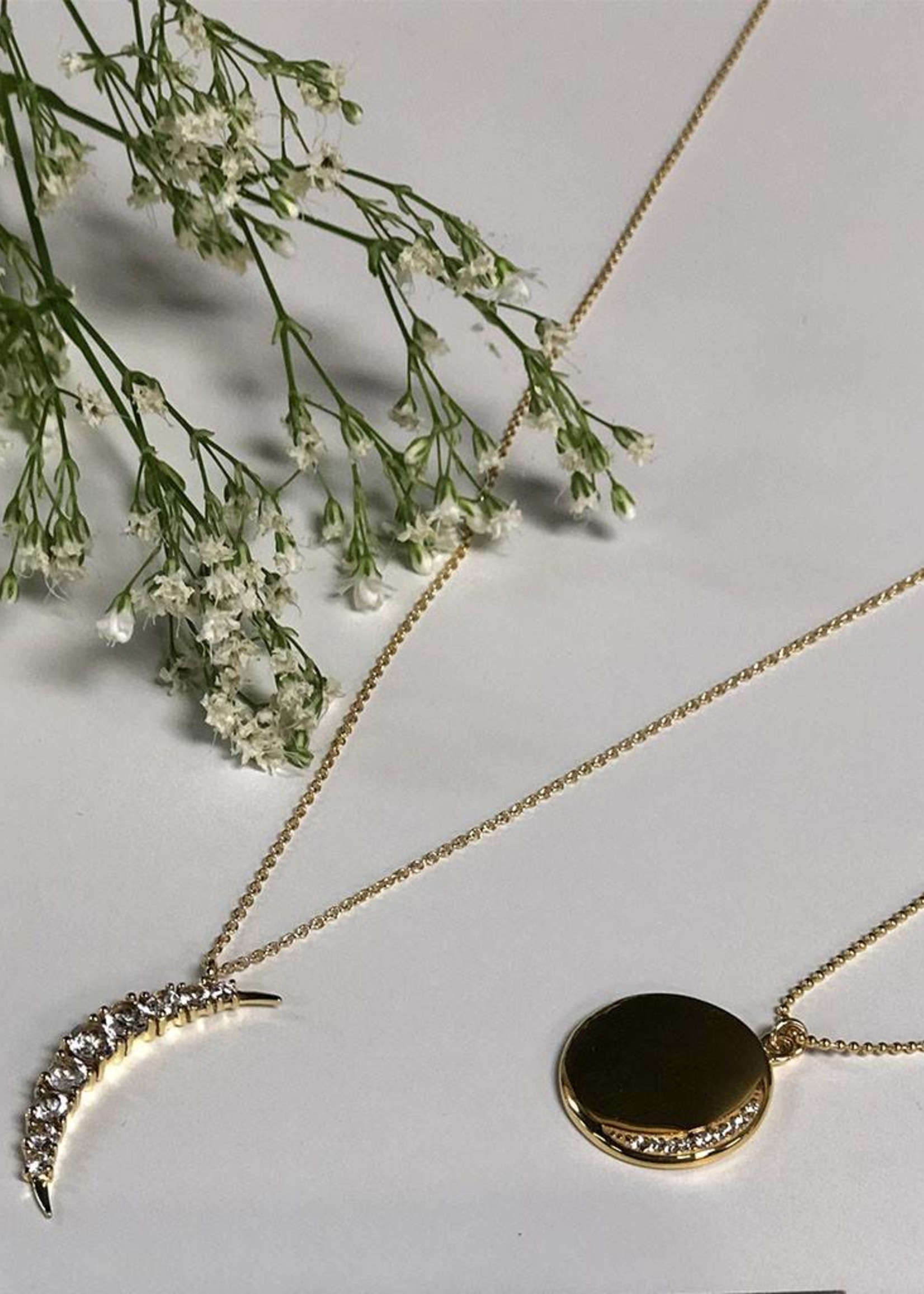 LEAH ALEXANDRA Lunar Necklace Gold,  White Topaz