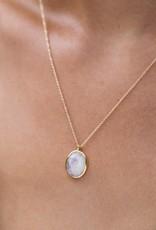 LEAH ALEXANDRA Cameo Necklace, Gold/ Moonstone