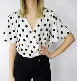 LeBLANC finds Polka Dot Flutter Sleeve Blouse