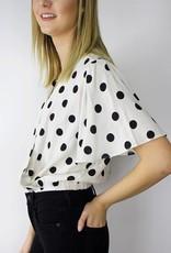 LeBLANC finds Polka Dot Flutter Sleeve Blouse