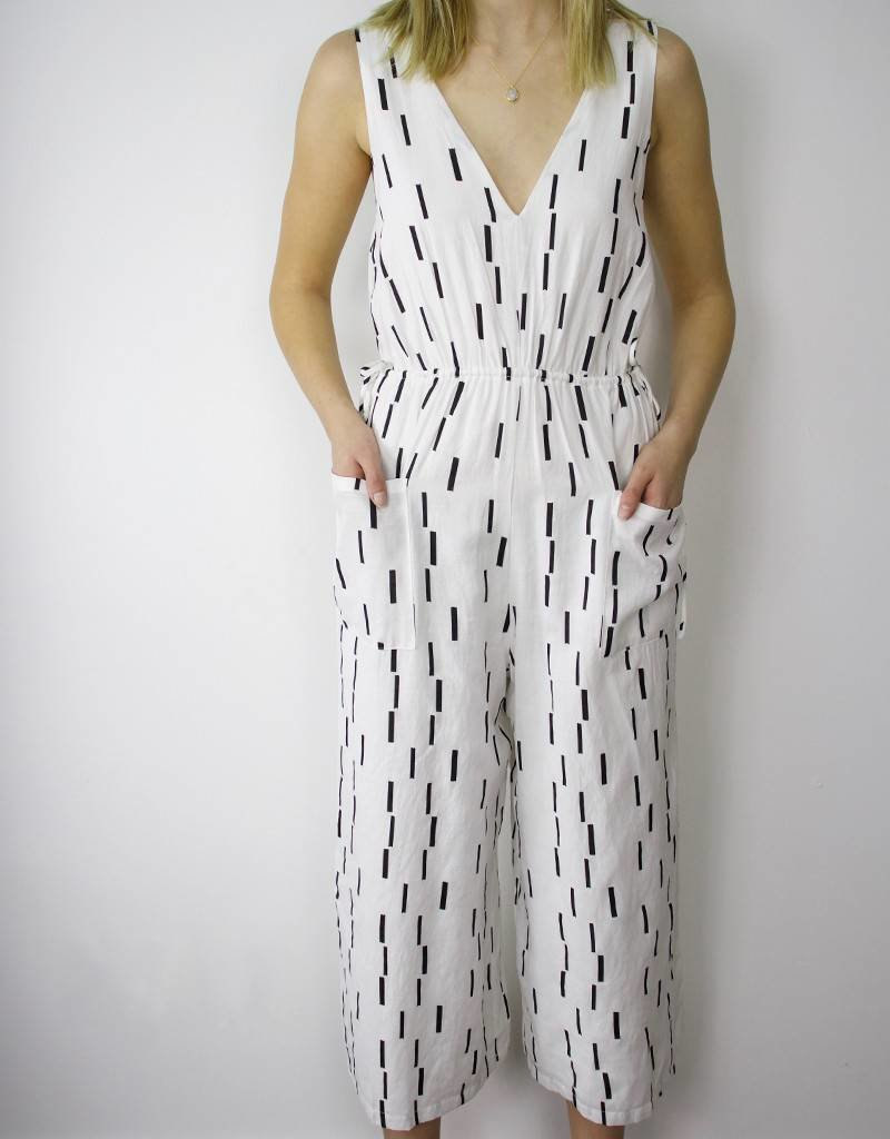 LeBLANC handmade V Neck All Over Print Jumpsuit