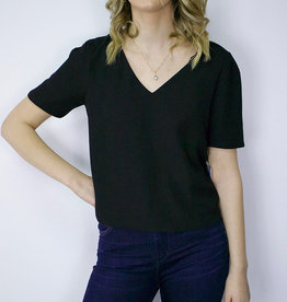 RD STYLE Crop V Neck Blouse, BLACK