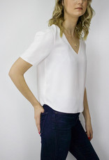 RD STYLE Crop V Neck Blouse, WHITE