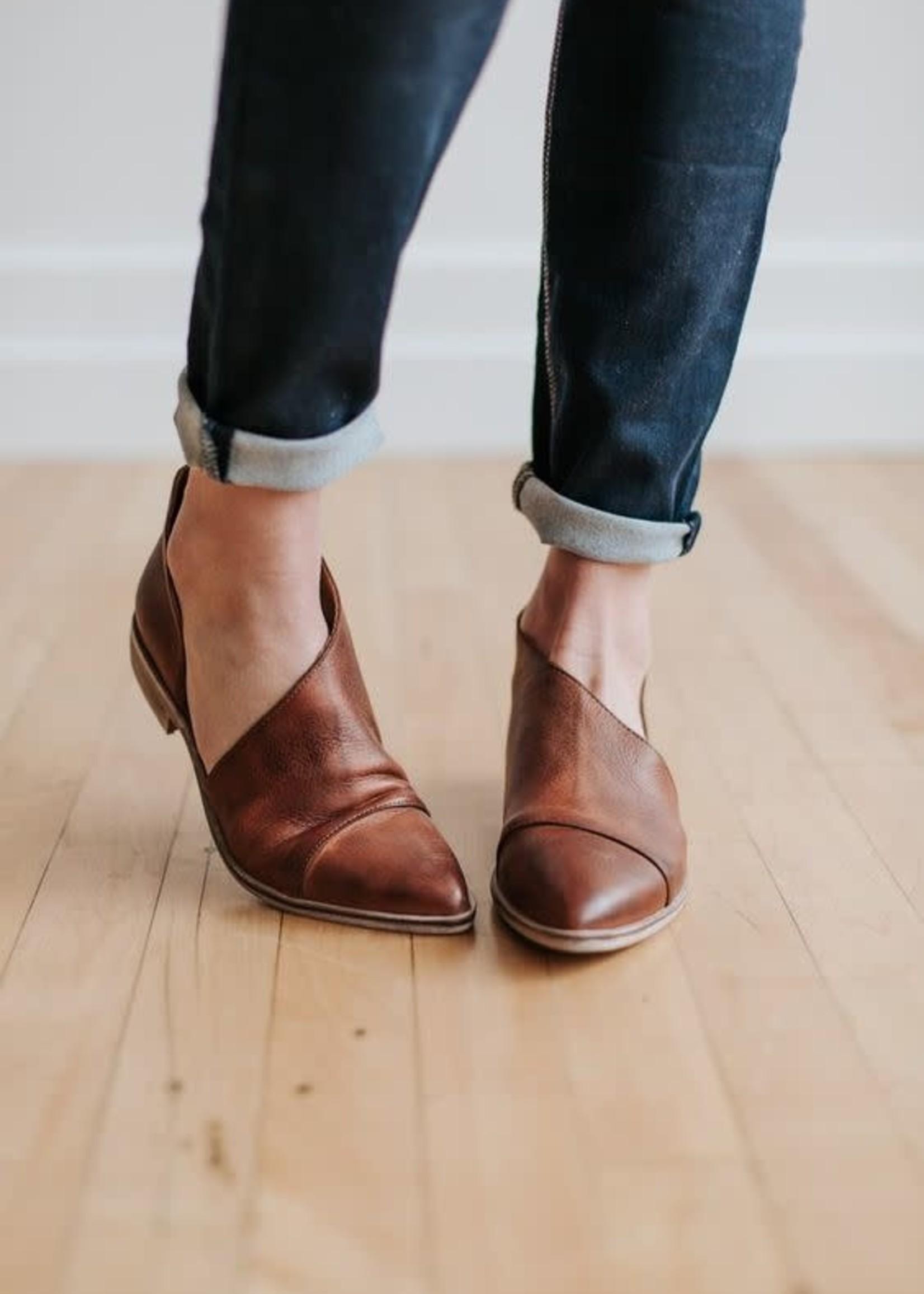 FREE PEOPLE Flat Royale, WHISKEY leather