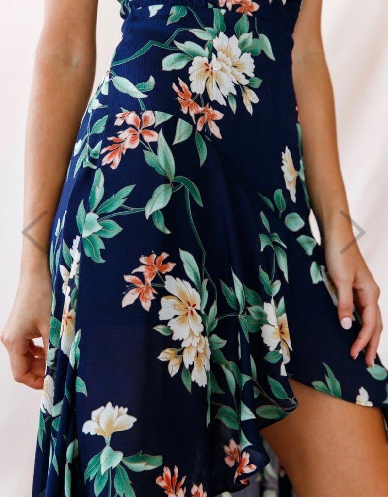 SELFIE LESLIE Deep V, Floral Dress, NAVY
