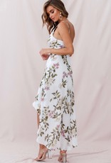 Deep V, Floral Dress, WHITE