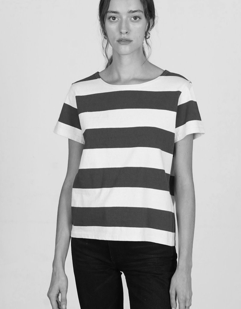 MOD REF Charlie TEE, BLACK/ CREAM stripe