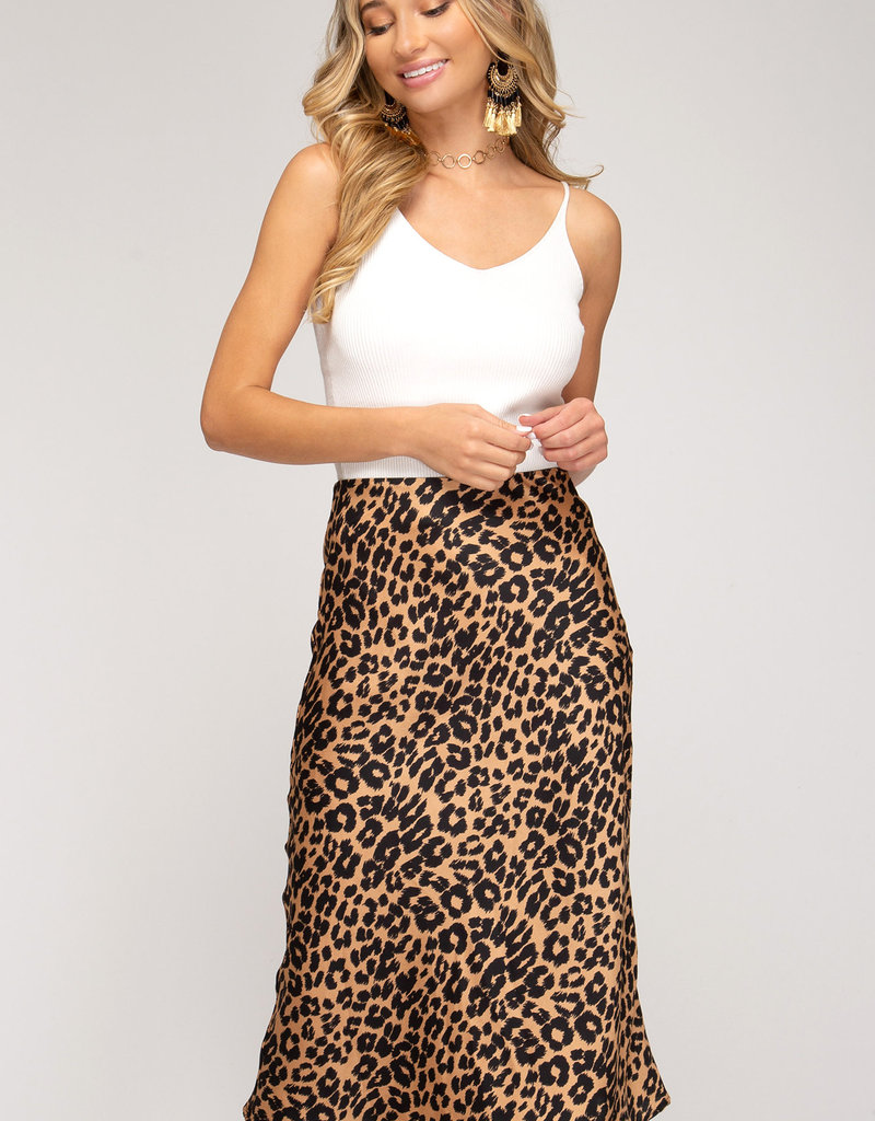 LeBLANC finds Satin Leopard Midi Skirt