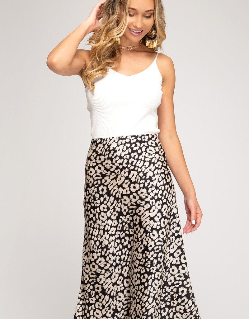 Satin Leopard Midi Skirt