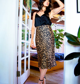 LeBLANC finds Satin Leopard Midi Skirt