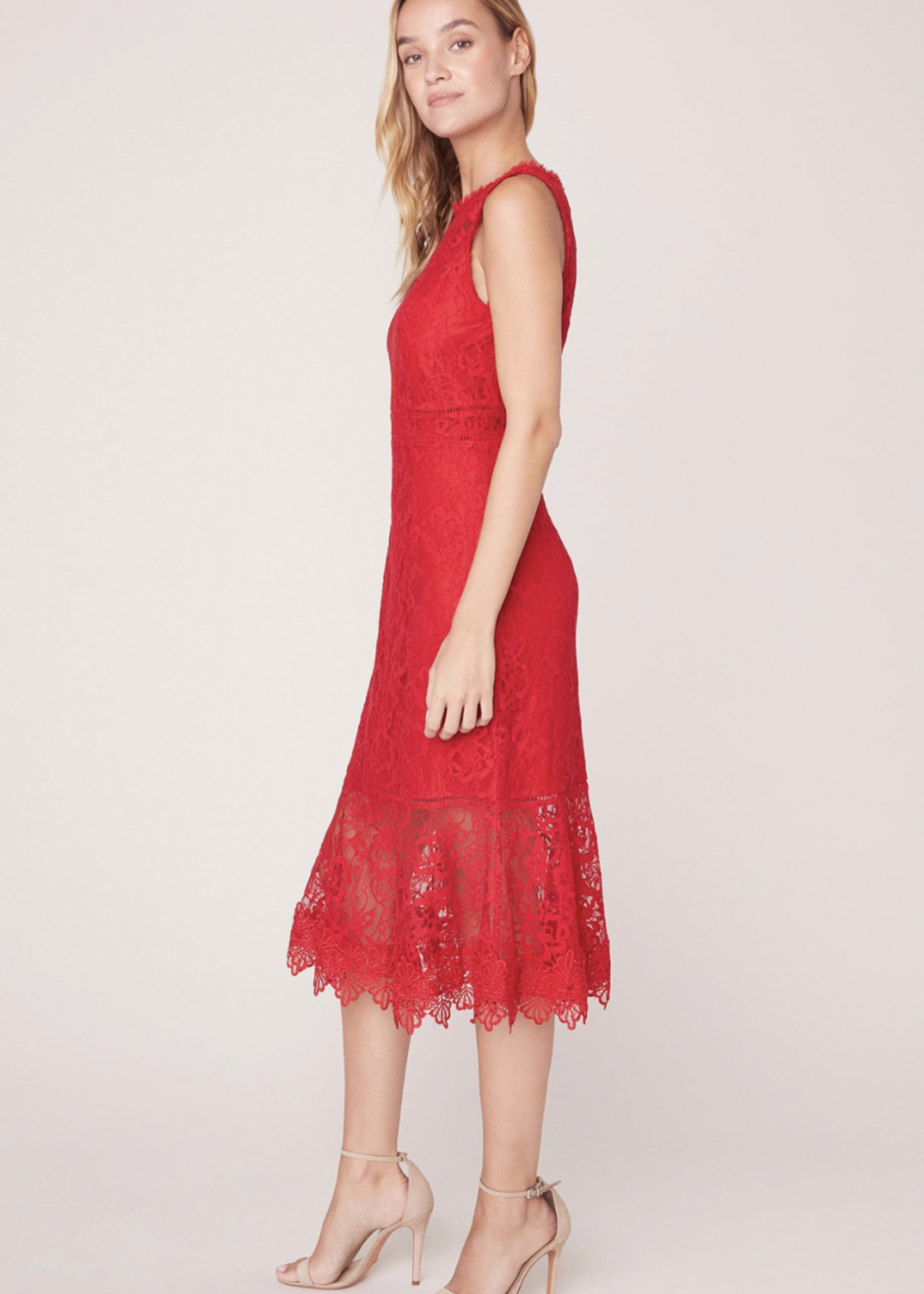 BB DAKOTA Hearing Sirens Dress, Red lace