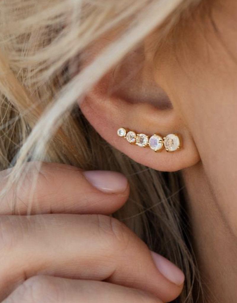 LEAH ALEXANDRA Celeste Climber Earring,  Moonstone/Gold