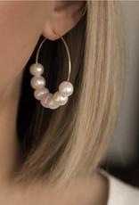 LEAH ALEXANDRA Cannes Hoop earrings, Pearl/ Gold