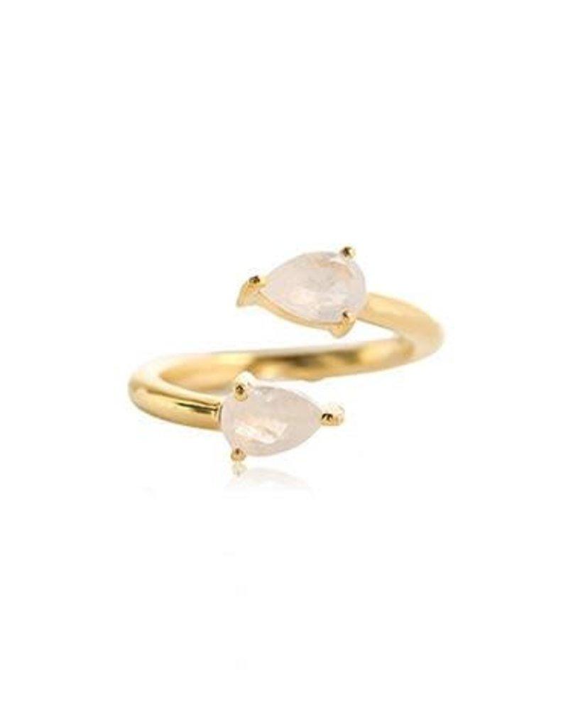 LEAH ALEXANDRA PEAR ring, MOONSTONE, gold