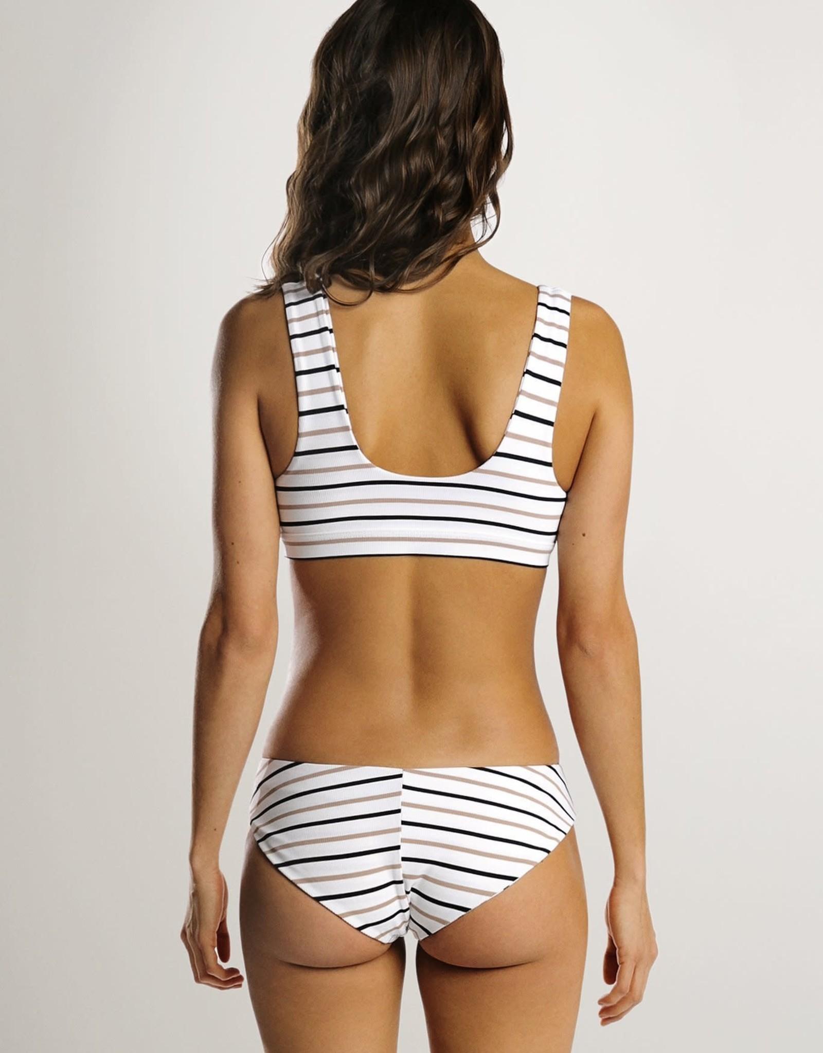 JUNE Swimwear Daisy Bikini Bottom, Stripe