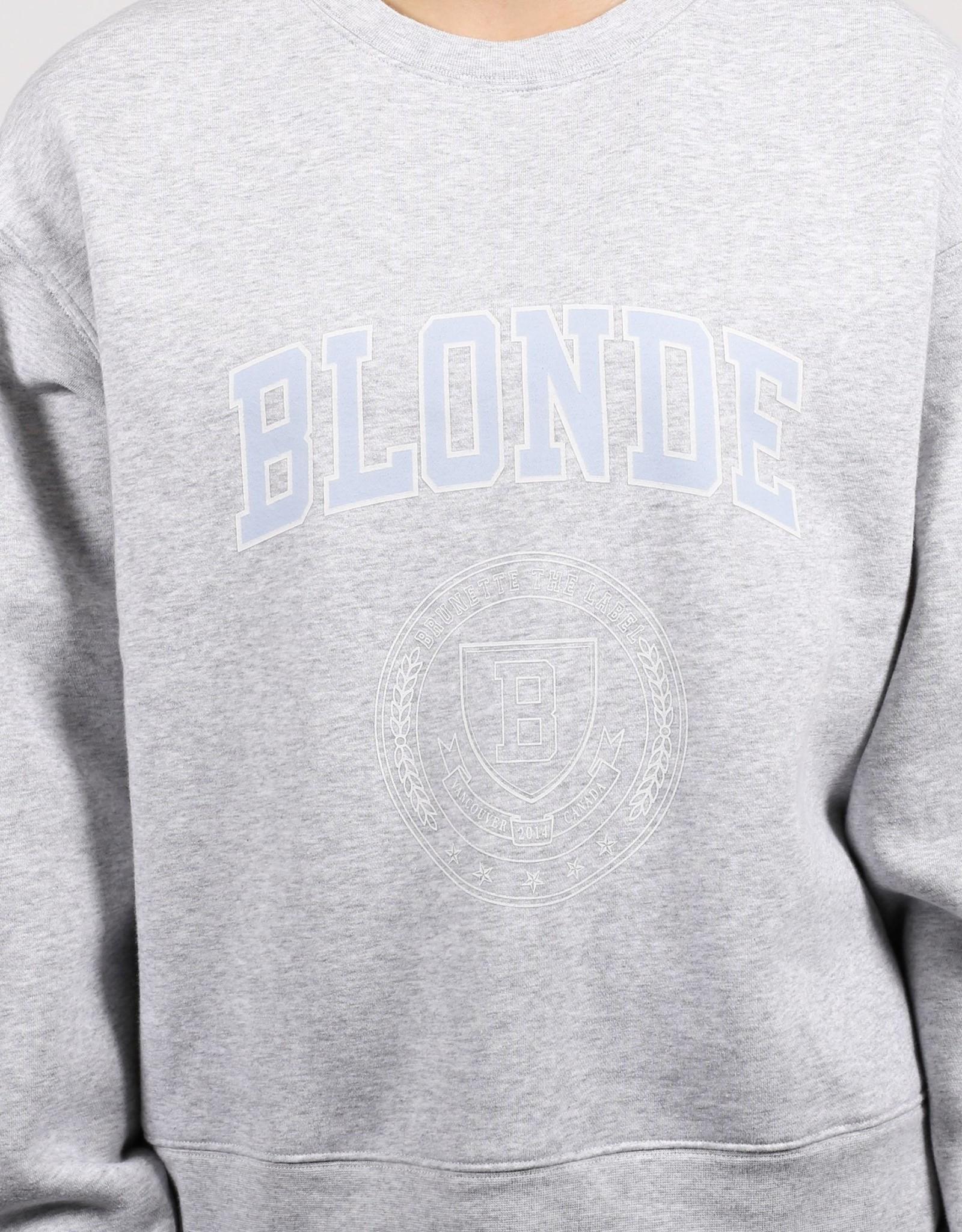 BRUNETTE  the label BLONDE Varsity Step Sister Crew