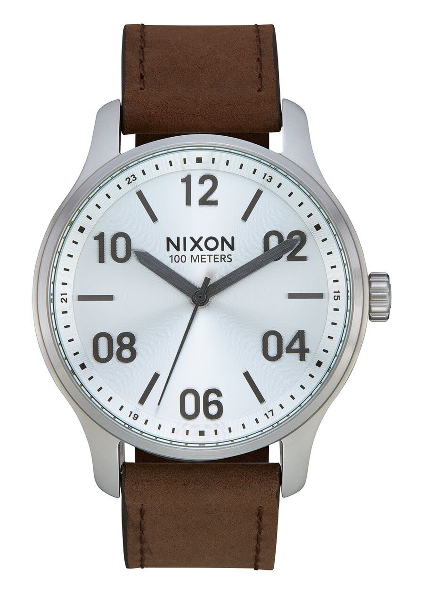 NIXON PATROL leather, Silver/ Brown