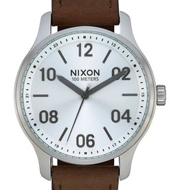 NIXON PATROL leather, Silver/ Brown