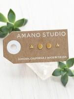 AMANO studio GEO Combo Stud Set, 24k gold plated