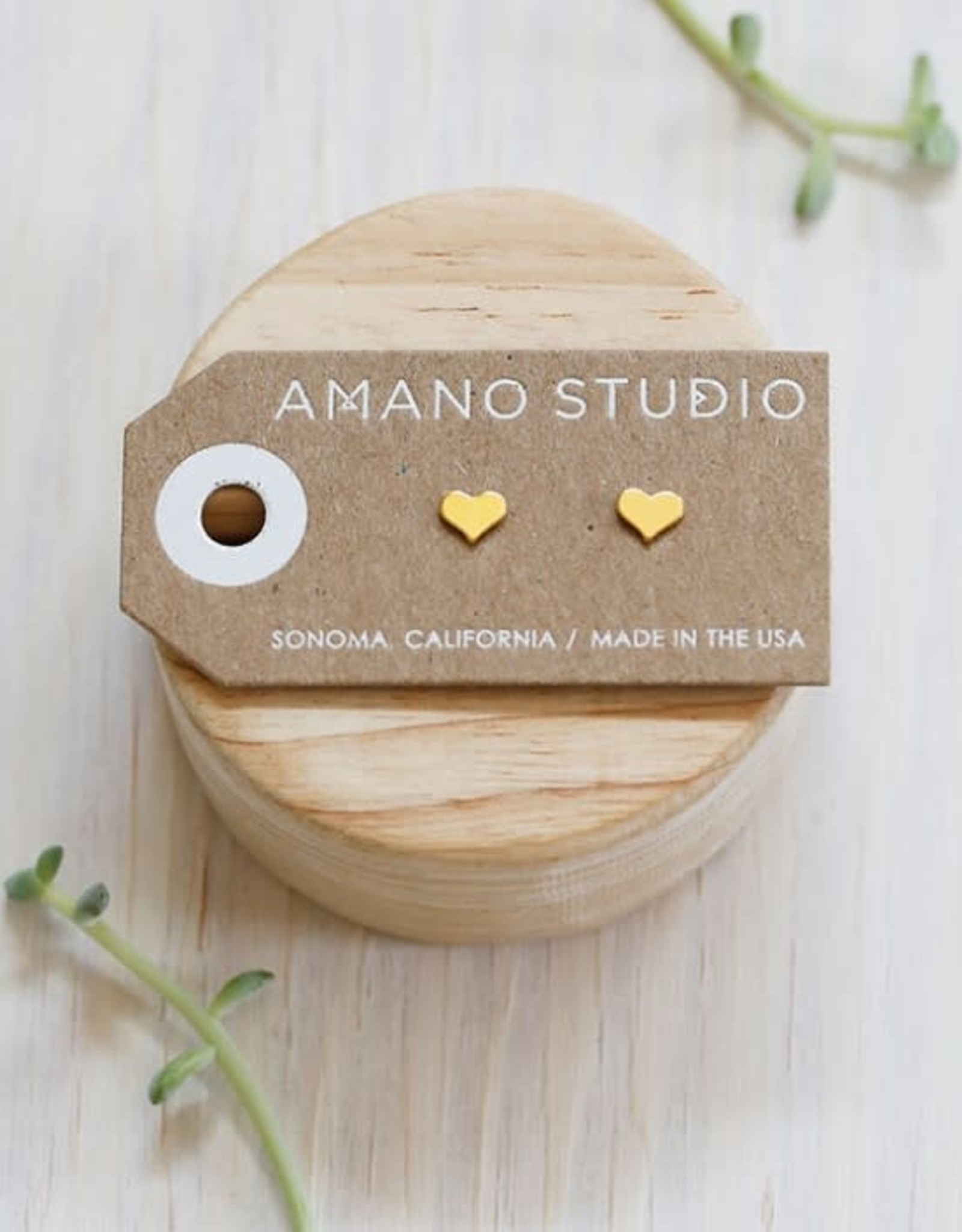 AMANO studio HEART studs, 24K gold plated