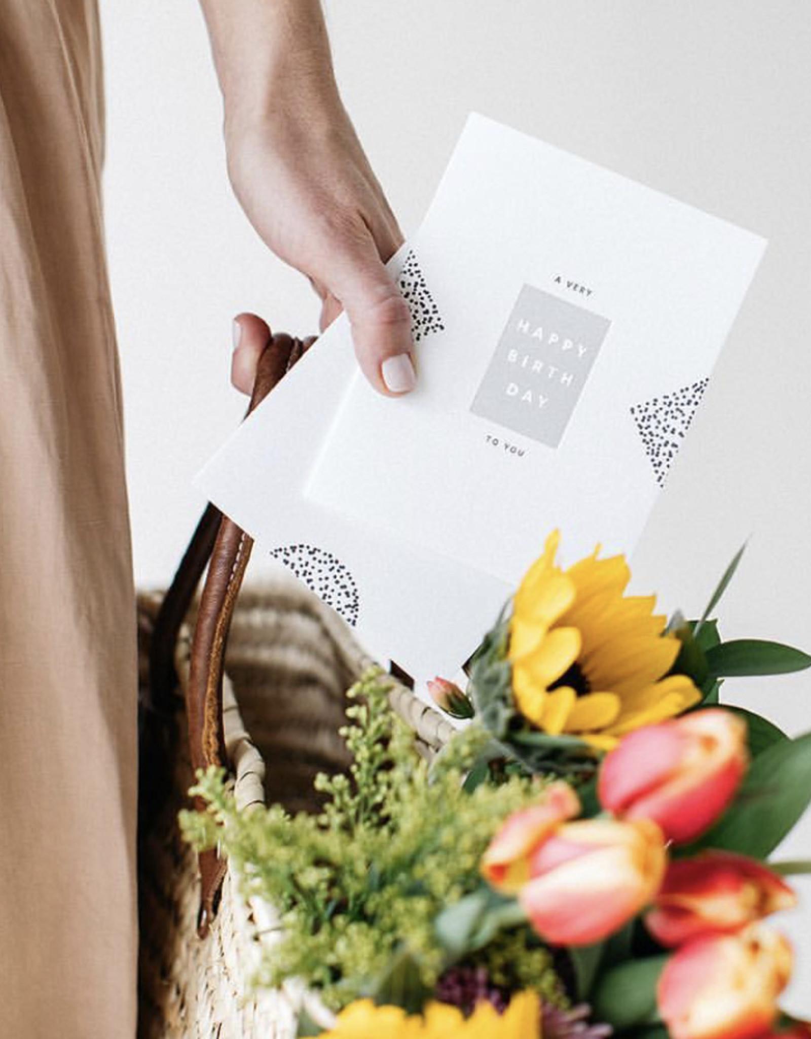 LeBLANC finds Happy Birthday Block Greeting Card
