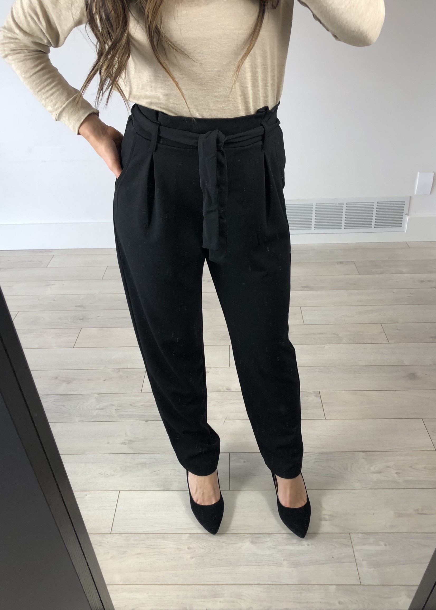 LeBLANC finds High waisted dress pants with waist tie