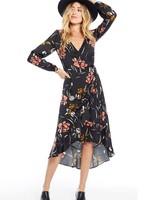 SALTWATER LUXE TIA WRAP DRESS, Black Floral