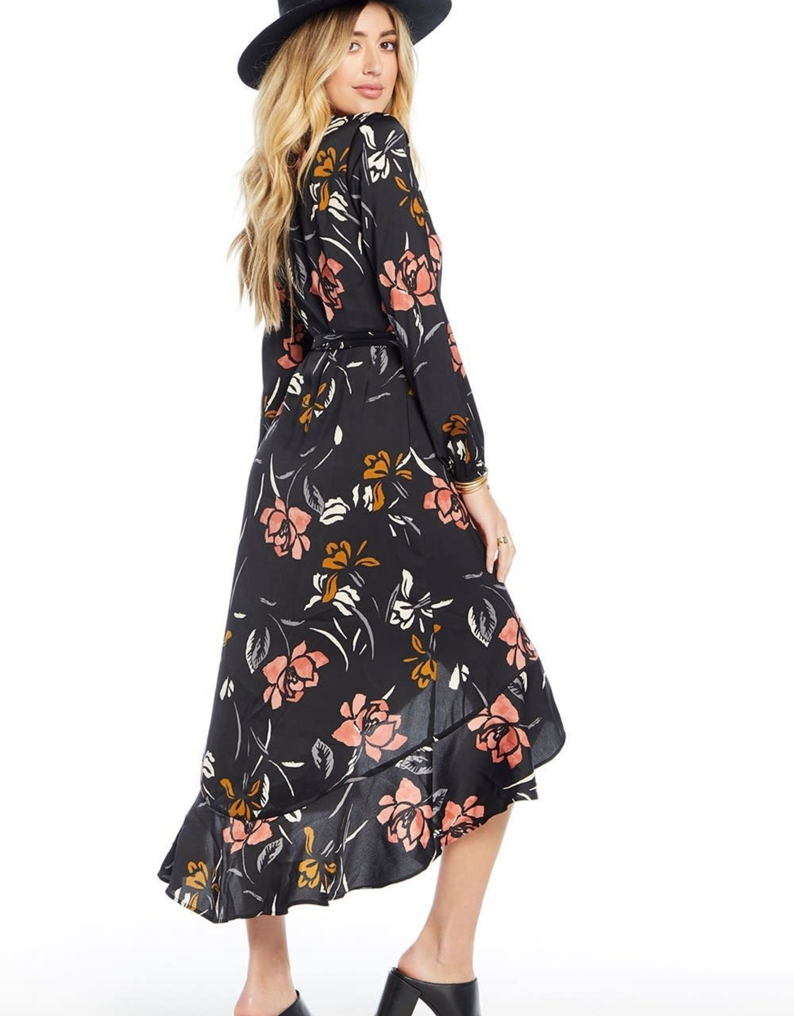 SALTWATER LUXE TIA WRAP DRESS, Black Floral