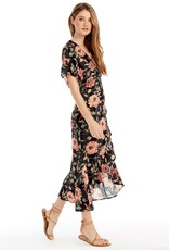 SALTWATER LUXE ORCHID FLORAL DOT WRAP DRESS