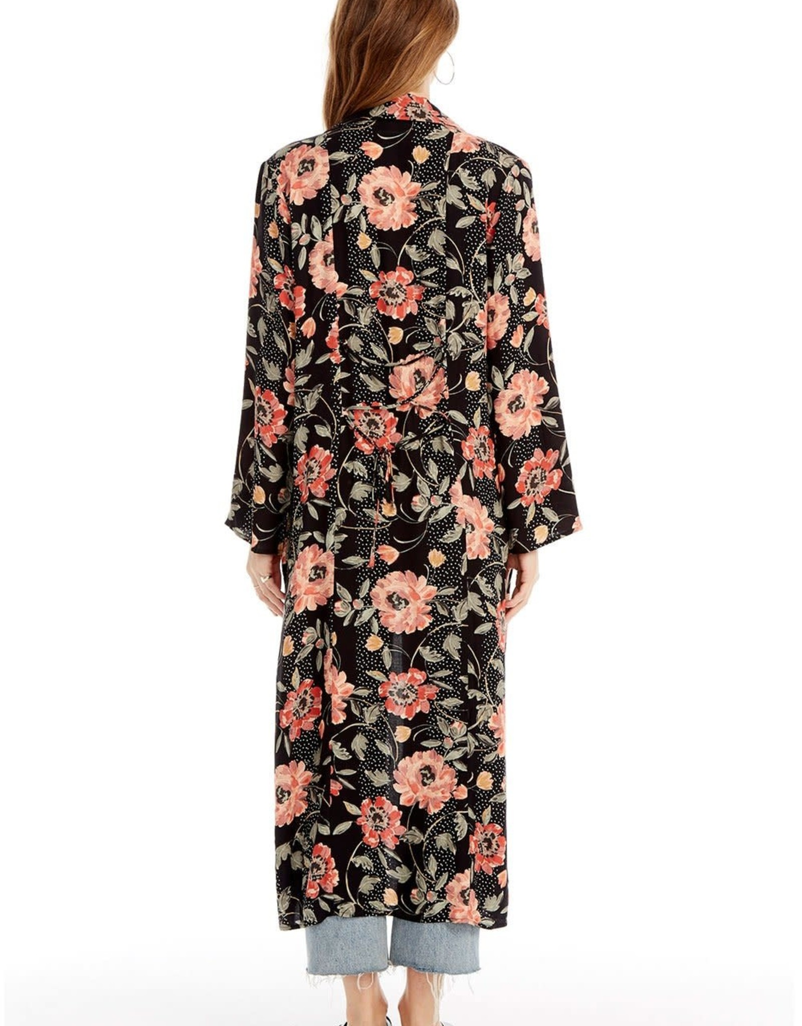 SALTWATER LUXE EMERY DUSTER, FLORAL DOT IN BLACK