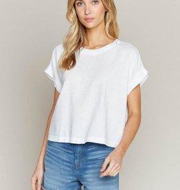 THREAD & SUPPLY LEIGHTON Linen Blend Blouse, WHITE