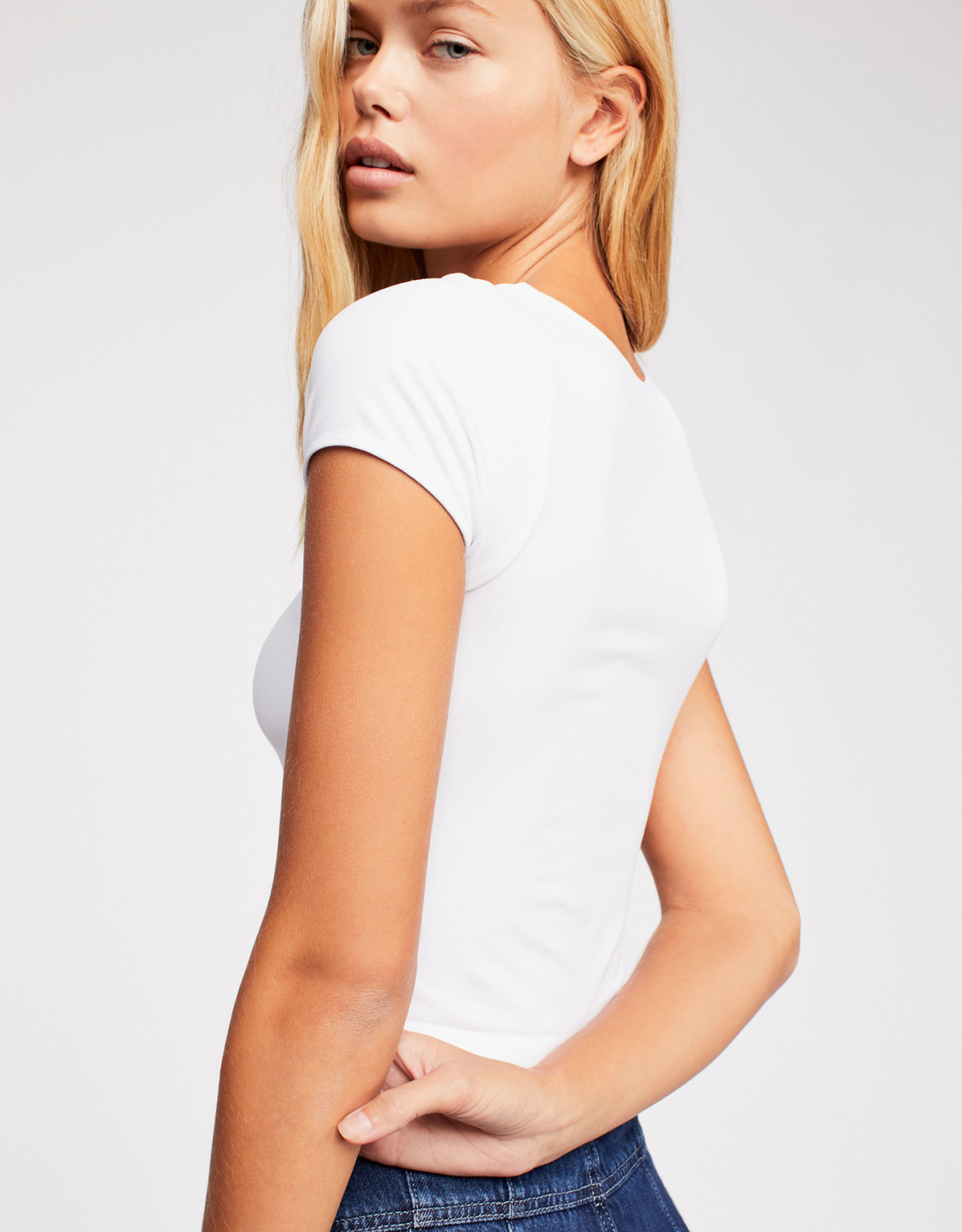 FREE PEOPLE CAP SLEEVE CROP, White