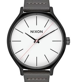 NIXON CLIQUE Leather watch, Black/ Grey