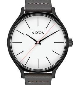 NIXON CLIQUE Leather watch, Black/ Grey