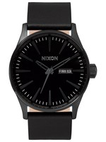 NIXON NIXON Sentry Leather Watch, ALL BLACK
