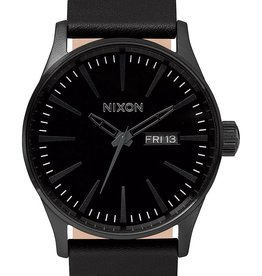 NIXON NIXON Sentry Leather Watch, ALL BLACK