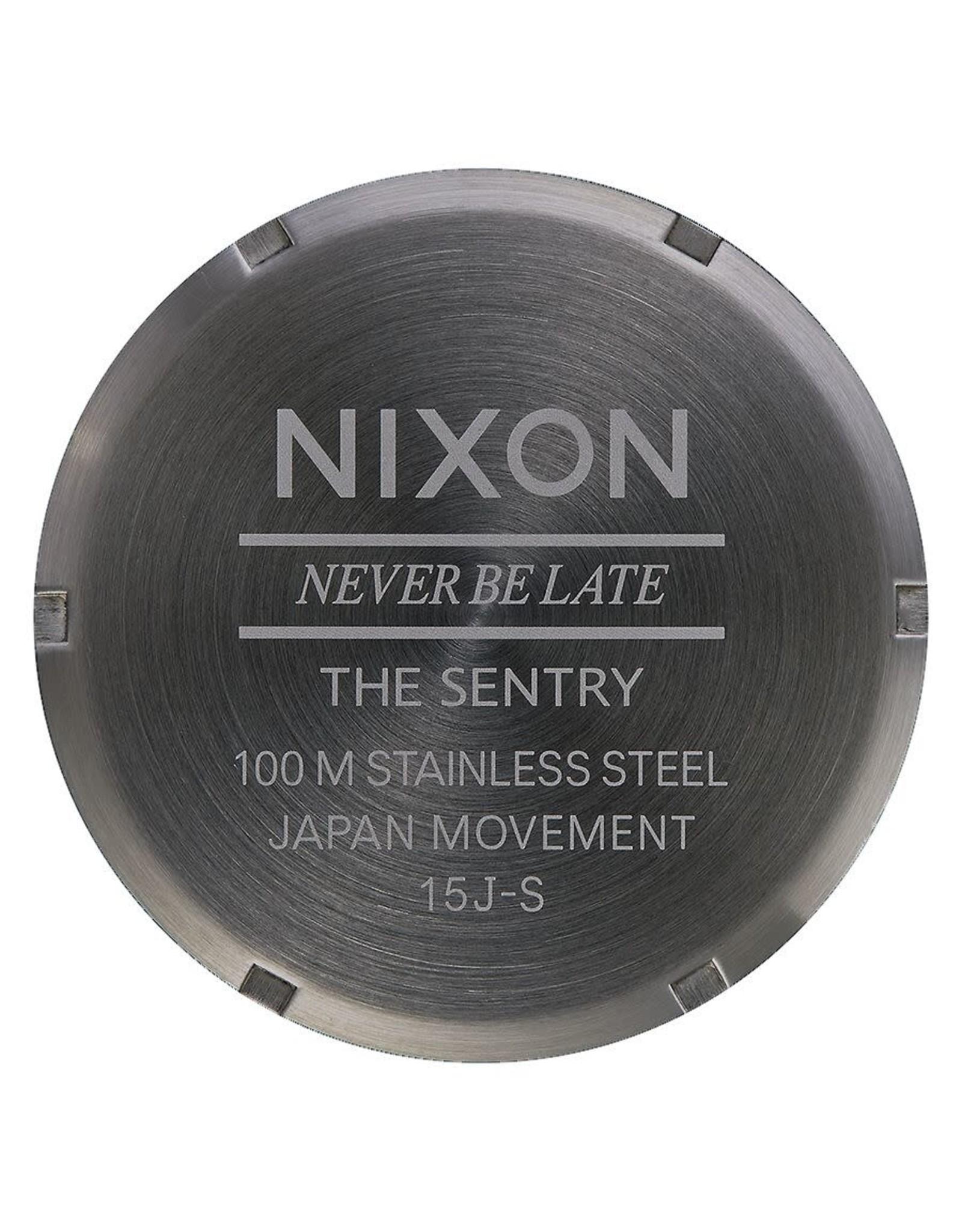 NIXON Sentry Leather Watch, Black/ Gunmetal