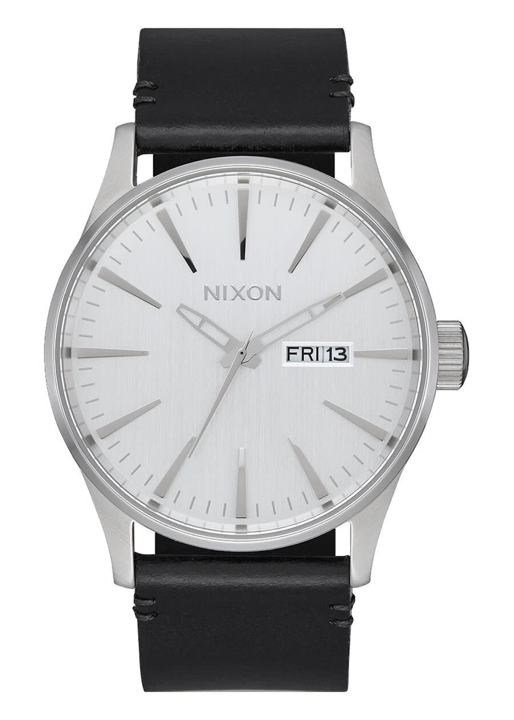 NIXON Sentry Leather Watch, Silver/ Black
