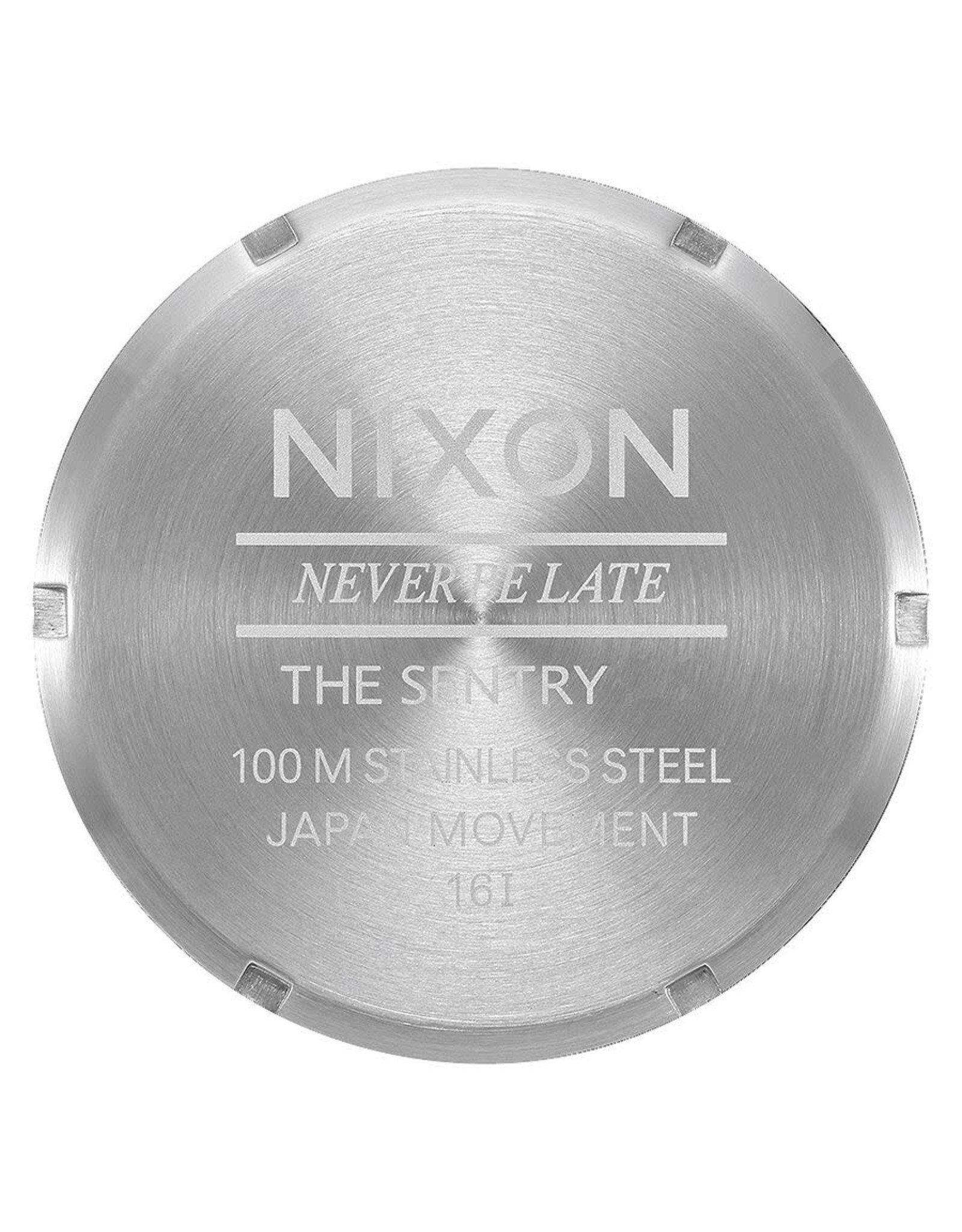 NIXON Sentry Leather Watch, Silver/ Black