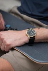 NIXON Sentry Leather Watch, Gold/ Black
