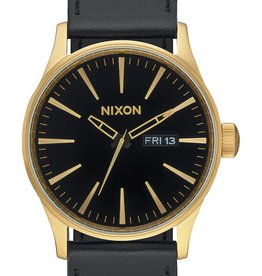 NIXON Sentry Leather Watch, Gold/ Black