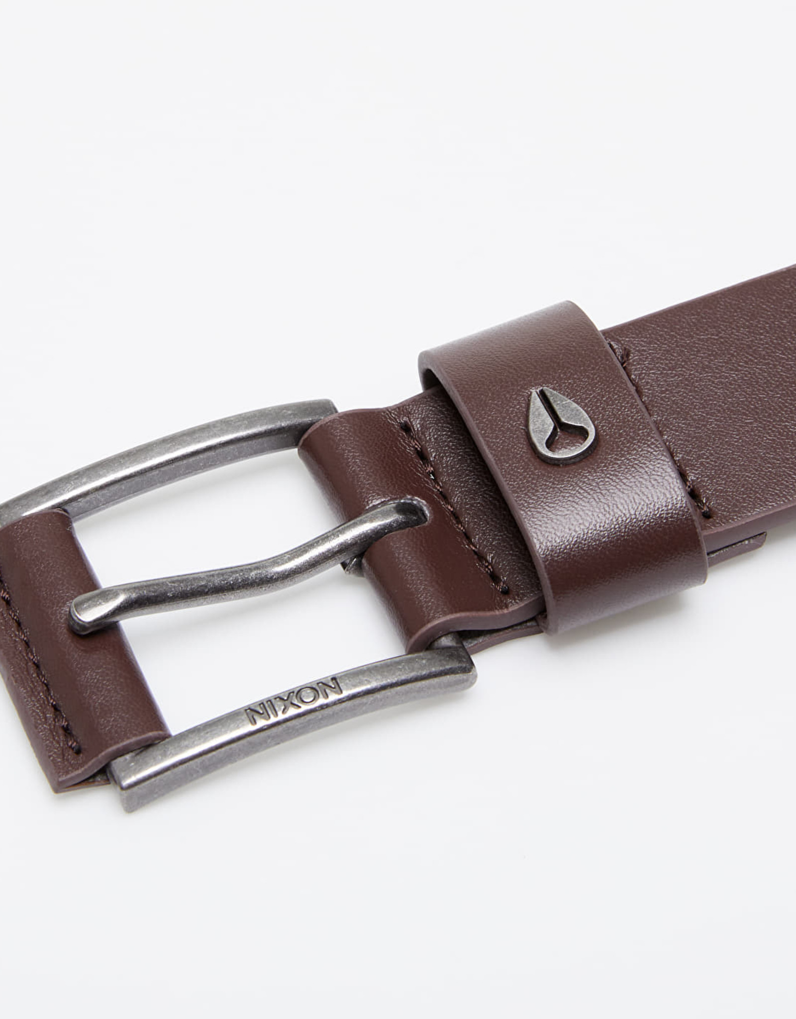 NIXON AMERICANA Leather Belt, DK Brown