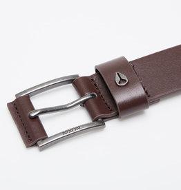 NIXON AMERICANA Leather Belt, DK Brown